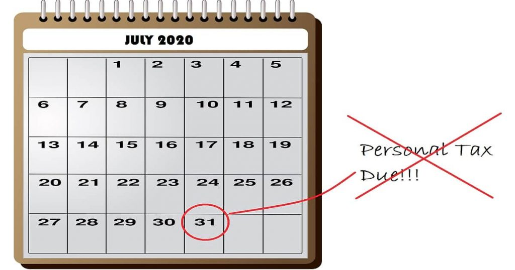July Personal Tax Payment