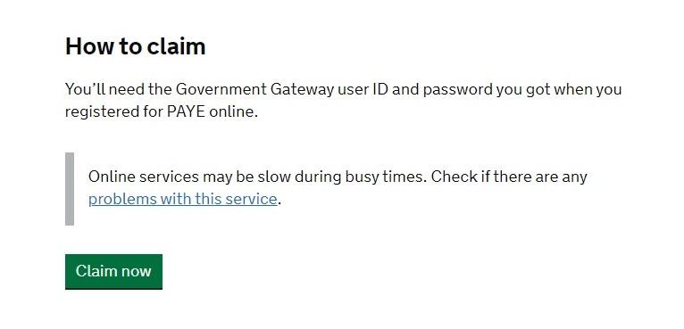 Job Retention Scheme Portal Step 1